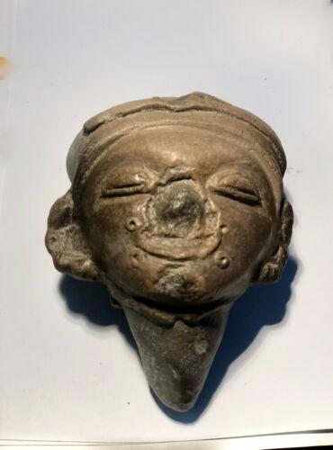 "PRE COLUMBIAN  JAMA-COAQUE ANCIENT POTTERY  HEAD FRAGMENT 3 3/4 "" AUTHENTIC"