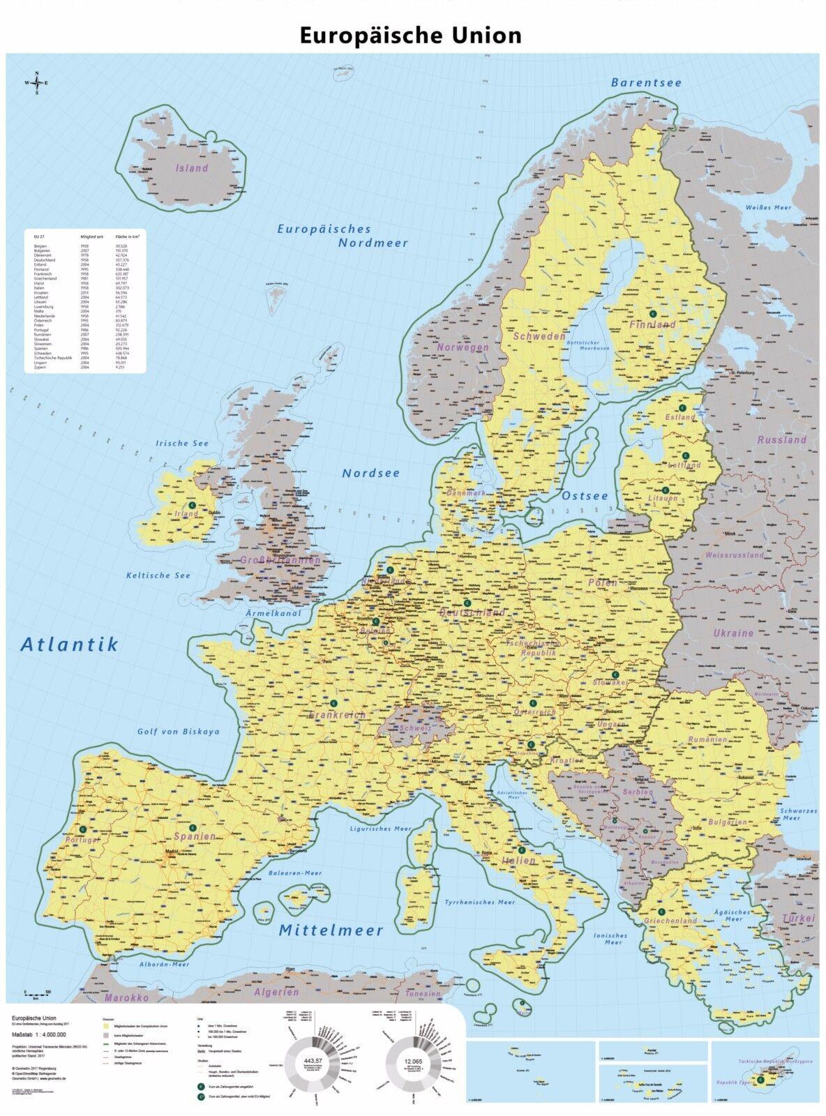 Europa Karte Poster Europaische Union Eu Ohne Gb Brexit Schengen
