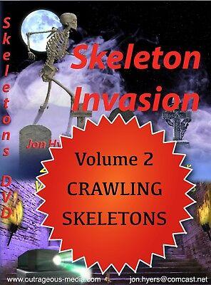 CRAWLING SKELETONS-2017, HALLOWEEN WINDOW PROJECTION DVD and Bonus](Skeleton Halloween Project)