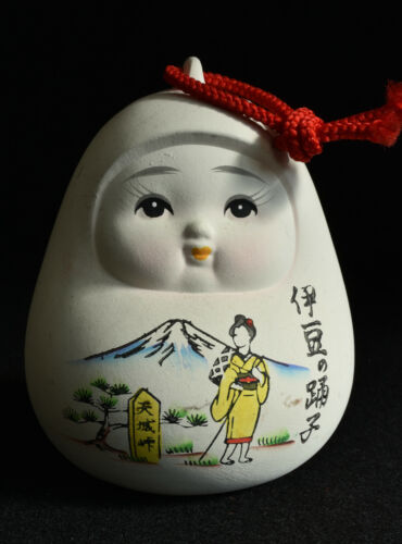 Japanese Old Clay Bell Dorei 1989 : design Daruma with the Izu dancer draw