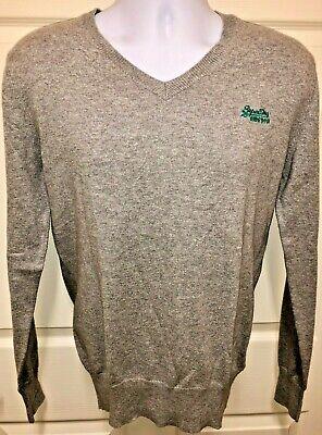 SUPERDRY Cotton/Cashmere Blend Gray V-Neck Knit Sweater Size S - Orange Label