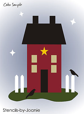Primitive Country Stencil Folk Art Saltbox House Home Fence Crows Star Signs -