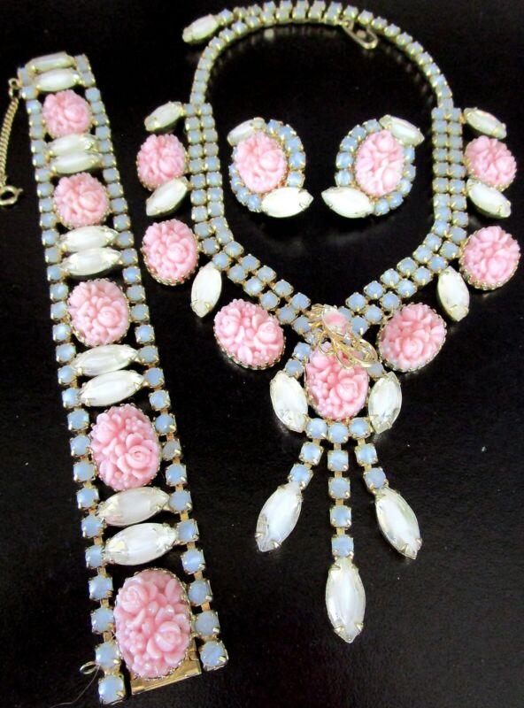 HOBE Pink Molded Flowers Blue White Givre Rhinestone Necklace Bracelet Earrings