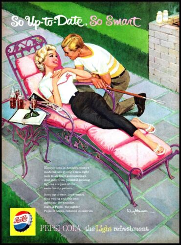 1959 Pepsi Cola woman lounging man barbeque bottle vintage art Print Ad adL25
