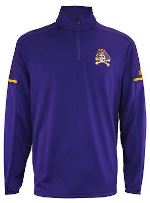 adidas NCAA Men's East Carolina Pirates Team Logo 1/4 Zip Pullover, Purple East Carolina Pirates Logo