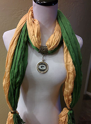 Green Bay Packers licensed pendant on 2 Team color jewelry scarves. Green/Gold!