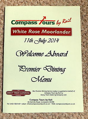 CHARTER TRAIN WHITE ROSE MOORLANDER BY COMPASS TOUR MENU