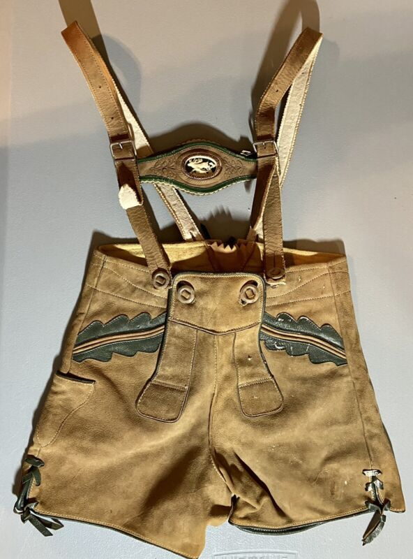 Vintage LEDERHOSEN Leather Suede German Swiss Zednik Neugasse Heidelberg Kid 6