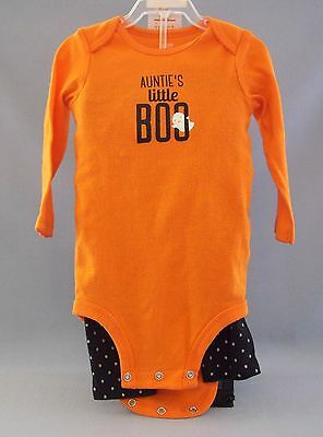 Carters Infant Halloween Costume Auntie's Little BOO Ghost 9 Months Orange Black