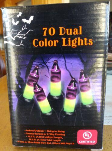 Frankenstein String Lights 70 Lights Halloween Purple/Green Indoor/Outdoor NEW