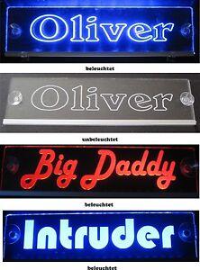 Trucker LKW Namensschild - LED Acryl Leuchtschild 12V 24V mit edler Lasergravur