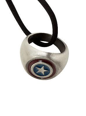 NEW MARVEL CAPTAIN AMERICA SUPER HERO Costume Jewelry RING Black Cord NECKLACE