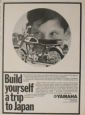1969 Revell Yamaha 350 Grand Prix Bike Model Motorcycle Kit 7 1/4 x 10 Toy AD