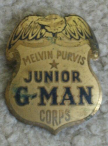 Melvin Purvis Junior G-MAN Corps badge Post Toasties FBI vintage