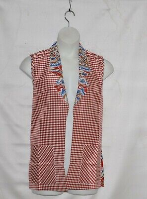 Koos Of Course Silk Reversible Printed Vest Size 1X Red Multi ()