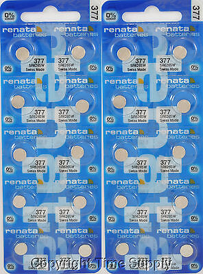 20 pc 377 Renata Watch Batteries SR626SW FREE SHIP 0% MERCURY
