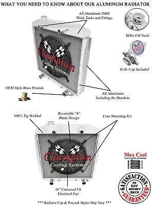 """NEW KKS ALUMINUM RADIATOR SHROUD W// 16/"""" FAN FIT 1953-1956 Ford F100 Pickup"""
