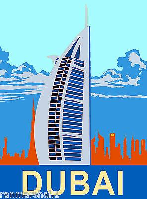 Dubai Burj al arab United Arab Emirates Arabian Travel Advertisement Poster 2