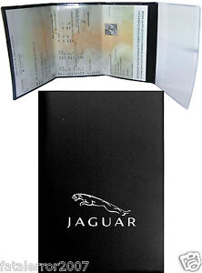 pochette etui porte carte grise jaguar 4 volets en gomme noire souple ebay. Black Bedroom Furniture Sets. Home Design Ideas