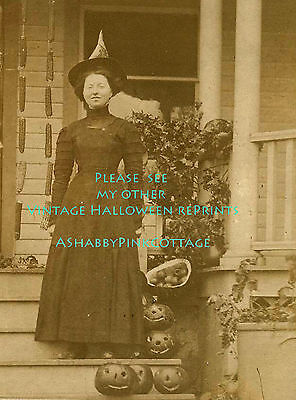 Vintage Halloween Witch Photo Smiling Witch with Pumpkins on Porch RePrint #341](Pumpkins Halloween Witch)