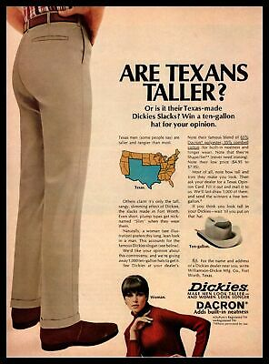 "1966 Dickies Slacks ""Are Texans Taller?"" Ten Gallon Cowboy Hat Vintage Print Ad"