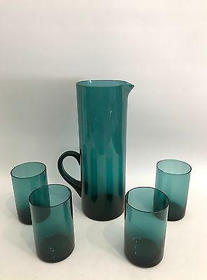 Design Glas Krug/Pitcher + 4 Gläser Saftset Denmark? Finland? 50er 60er Jahre
