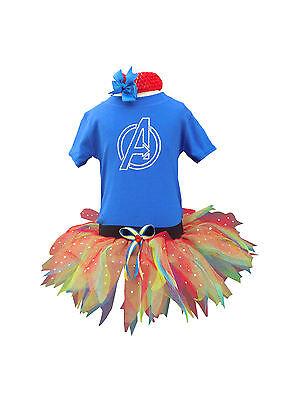 Girls Avengers Superhero Sparkle Baby Grow Neon Tutu Set 80s Fancy Dress - Baby Avengers Kostüm