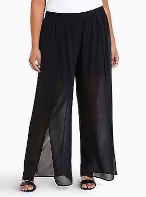Torrid Chiffon Side Slit Wide Pants Black 1X 14 16 #66406