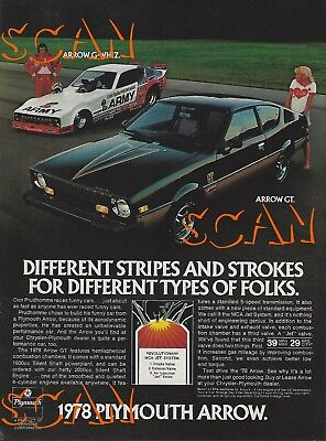 1978 Plymouth Arrow GT Vintage Magazine Ad Don The Snake Prudhomme Advertisment ()