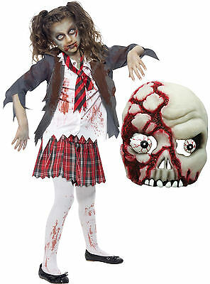 Zombie School Girl Teen Monster Halloween Scary Kids Fancy Dress Costume + MASK (Scary School Girl Halloween Costume)