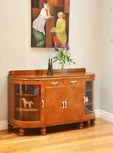 Vintage Art Deco Sideboard Buffet Original Curved Glass Display Williamstown Hobsons Bay Area Preview