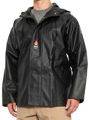 NWT Helly Hansen Men Fox Creek oil flame-resistant Black Waterproof hood jacket