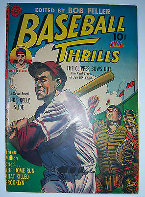 BASEBALL THRILLS No. 3 Summer, Joe DiMaggio story, Bob Feller, Ziff Davis Comic