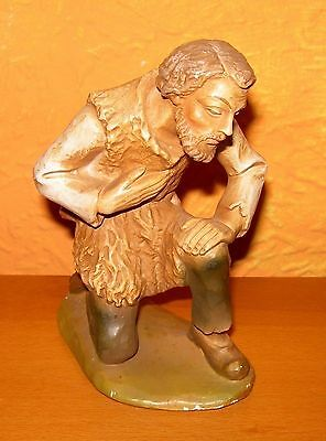 Nativity Figurine Josef Kneeling Plaster Stuck 12cm High Nativity Scene Antique