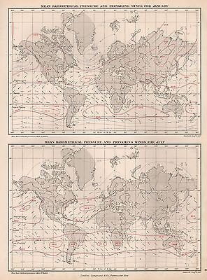 1889 ANTIQUE MAP WORLD MEAN BAROMETRICAL PRESSURE AND PREVAILING WINDS 2 IMAGES