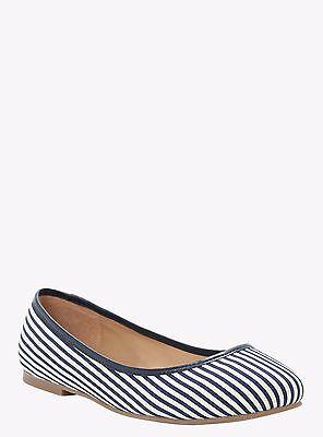 (Torrid Navy Blue Pinstripe Striped Stripe Flats Loafers Shoes Sz: 7 #0211)
