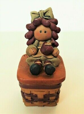 Blossom Bucket Raggedy Ann Rag Doll on Basket Figurine Trinket Box with Lid NOS - Raggedy Ann Hat