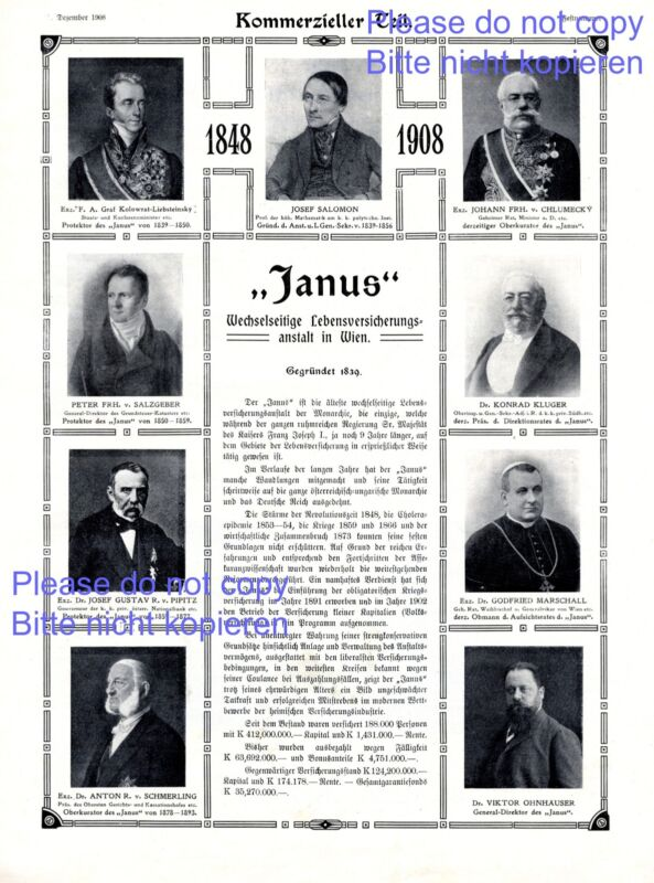 Life insurance Janus Vienna XL austrian ad 1908 advertising Graf Kolowrat +