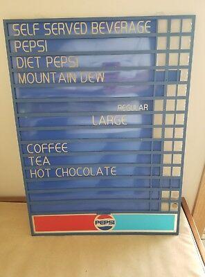 Vtg.pepsi Changeable Plastic Sign Menu Board Advertising 21.75 X 16.25