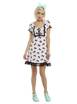 Hot Topic Disney Pastel Bow Print Babydoll Dress Size Xs S L Xl Xxl Nwt F8