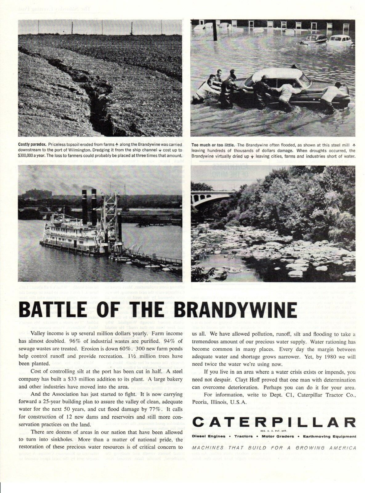 Vintage automobile Print car ad Caterpillar Tractor Battle of the Brandywine 61