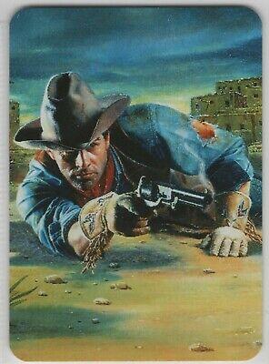 1 swap playing card; art; cowboy shooting gun; artist; Steve Assel
