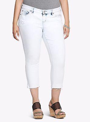 Cropped Jeans Spandex (Torrid Spandex Cropped Capri Skinny Retro Denim Jean Acid Wash 2X 18 #05469)