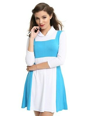 DISNEY BEAUTY AND THE BEAST BELLE PEASANT DRESS COSPLAY COSTUME BLUE - Belle Blue Dress