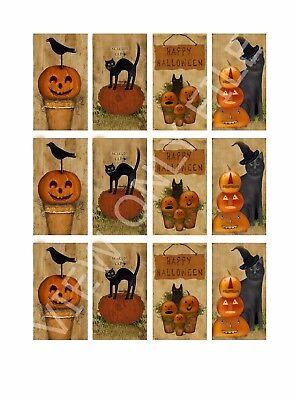 Halloween Crafts Pumpkins Paper (12 Primitive Halloween Crow Pumpkins Hang Tags Scrapbooking Paper Crafts)
