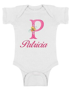 Girls Personalized (Monogrammed Floral Girl Infant Bodysuit or T-Shirt  ~ Personalized)