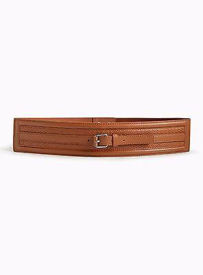 (Torrid Buckle Center Panel Stretch Belt Brown 00X Med Large 10 00 #9325)