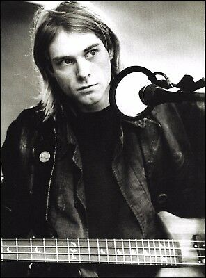 Nirvana Kurt Cobain in the studio 8 x 11 b/w pin-up photo