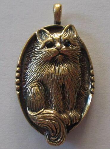 16 grams VTG FRANKLIN MINT FM GOLD WASH STERLING SILVER KITTY CAT PENDANT