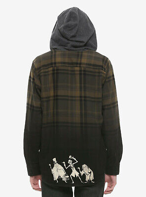 Haunted Mansion Hot Topic Hooded Flannel Shirt BNWT Size M UK 10/12